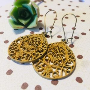 Mustard yellow scroll boho summer earrings